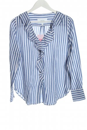 Opus Long Sleeve Blouse blue-white striped pattern business style