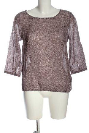 Opus Langarm-Bluse braun-weiß abstraktes Muster klassischer Stil