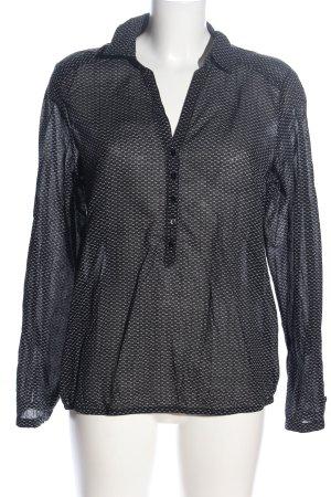 Opus Langarm-Bluse schwarz-weiß Allover-Druck Business-Look