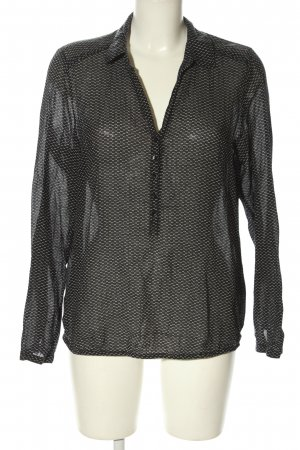 Opus Langarm-Bluse schwarz-weiß Allover-Druck Casual-Look