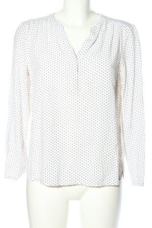 Opus Langarm-Bluse weiß-schwarz Allover-Druck Casual-Look