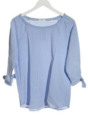 Opus Camicetta a maniche lunghe blu-bianco motivo a righe stile casual