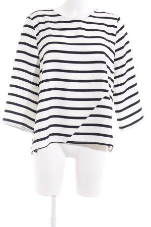 Opus Langarm-Bluse weiß-schwarz Streifenmuster Casual-Look