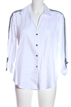Opus Langarmhemd weiß-schwarz Streifenmuster Casual-Look