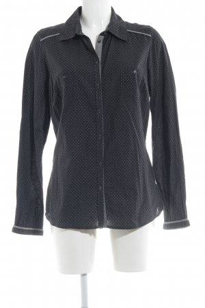 Opus Langarmhemd schwarz-grau Allover-Druck schlichter Stil