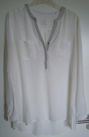 OPUS Long-Bluse (neuwertig) weiß mit Stickerei, Gr. 40-42