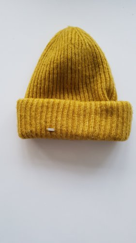 Opus Knitted Hat yellow-gold orange