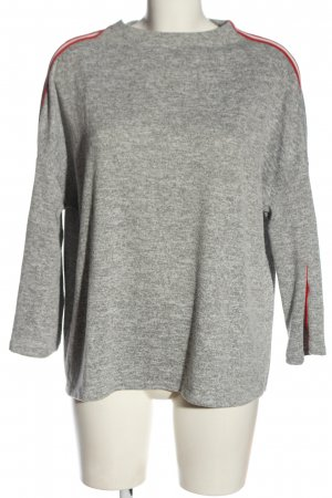 Opus Oversized Pullover hellgrau-rot meliert Casual-Look