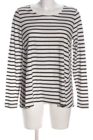 Opus Oversized Shirt weiß-schwarz Streifenmuster Casual-Look