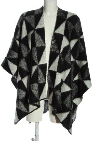 Opus Poncho schwarz-weiß grafisches Muster Casual-Look