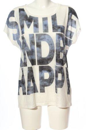 Opus Print-Shirt weiß-blau Motivdruck Casual-Look