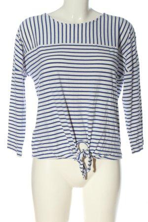 Opus Maglietta a righe bianco-blu motivo a righe stile casual