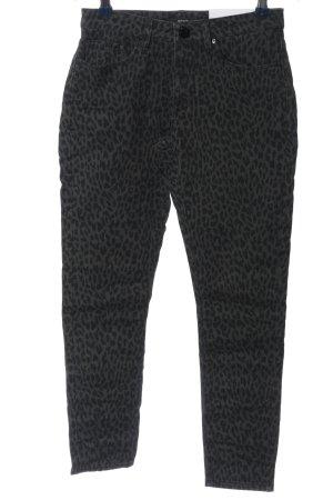 Opus Drainpipe Trousers black-light grey animal pattern casual look