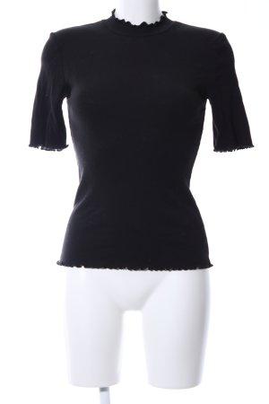 Opus Colshirt zwart casual uitstraling