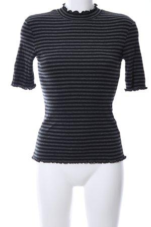 Opus Colshirt zwart-lichtgrijs gestreept patroon casual uitstraling