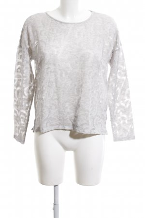 Opus Rundhalspullover weiß abstraktes Muster Casual-Look