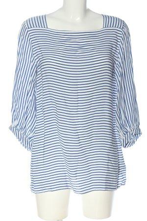 Opus Schlupf-Bluse weiß-blau Streifenmuster Casual-Look