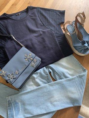 Opus Cropped Shirt dark blue