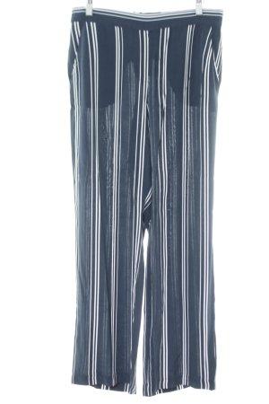 Opus Stoffhose blau-weiß Streifenmuster Casual-Look