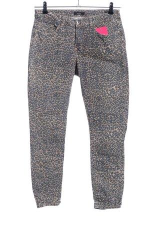 Opus Pantalon strech gris clair-crème motif léopard style décontracté