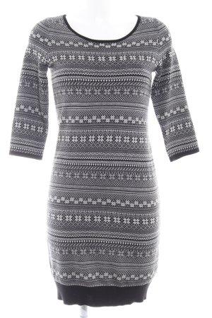 Opus Strickkleid schwarz-weiß grafisches Muster Casual-Look