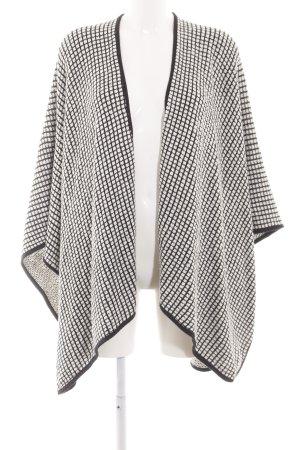 Opus Poncho en tricot noir-blanc motif à carreaux style décontracté