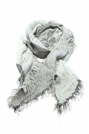 Opus Knitted Scarf light grey-white graphic pattern casual look