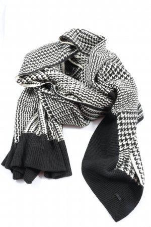 Opus Knitted Scarf white-black check pattern casual look