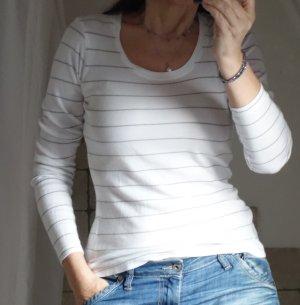 Opus, Strickshirt, Langarm Shirt, Longsleeve, weiß, beige Streifen, ganz weicher Strick, Jersey, Basic Shirt, Rundhals, guter Zustand, Gr. S, Gr. 36