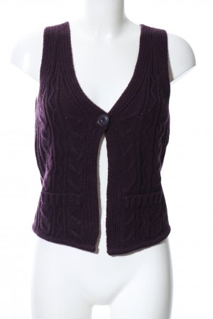 Opus Strickweste lila Zopfmuster Casual-Look