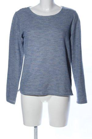 Opus Sweatshirt blau-weiß Streifenmuster Casual-Look