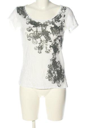 Opus T-Shirt wollweiß-hellgrau Allover-Druck Casual-Look