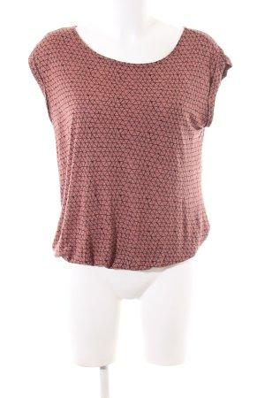 Opus T-Shirt braun-schwarz Allover-Druck Casual-Look