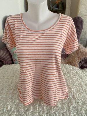 Opus T-Shirt Gr 36 weiß koral gestreift