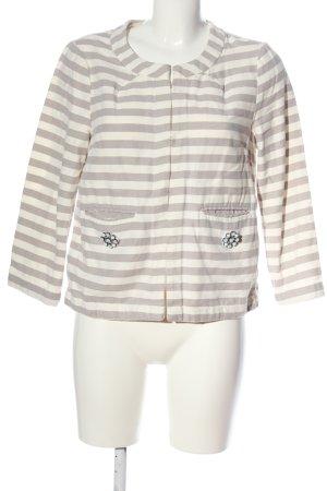 Opus Between-Seasons Jacket cream-white striped pattern casual look