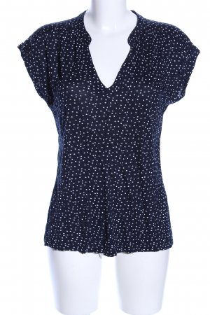 Opus V-Neck Shirt blue-white allover print casual look