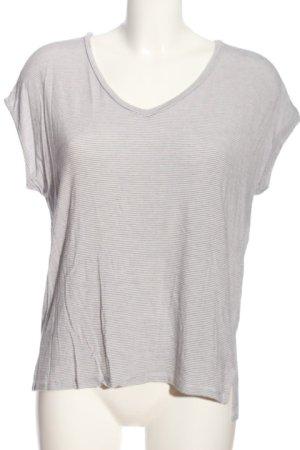 Opus V-Ausschnitt-Shirt hellgrau-weiß Streifenmuster Casual-Look