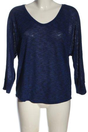 Opus V-Ausschnitt-Shirt blau-schwarz meliert Casual-Look
