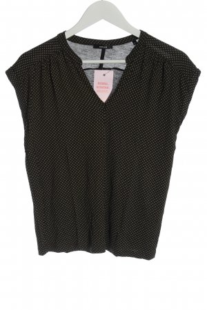 Opus V-Ausschnitt-Shirt schwarz-creme Allover-Druck Casual-Look