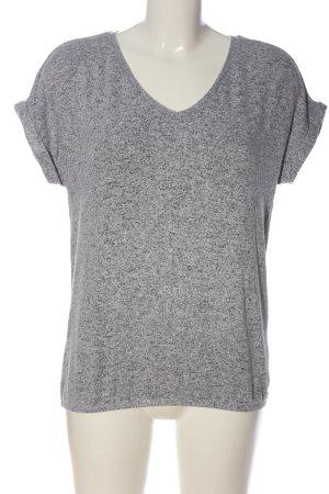 Opus V-Ausschnitt-Shirt weiß-schwarz meliert Casual-Look