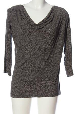 Opus Koszulka z dekoltem woda khaki-kremowy Na całej powierzchni W stylu casual