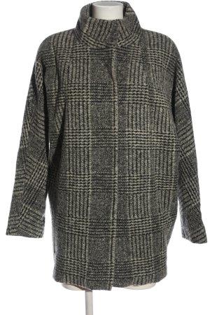 Opus Wollen jas lichtgrijs-zwart volledige print casual uitstraling