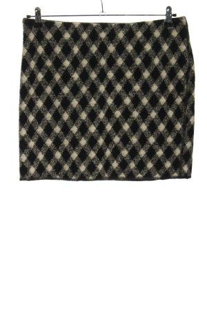 Opus Wollen rok zwart-room geruite print casual uitstraling