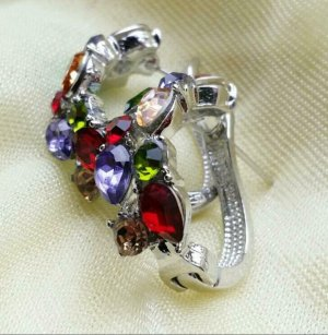 Ear Hoops silver-colored-red