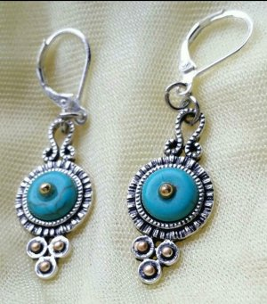 Ear Hoops silver-colored-turquoise