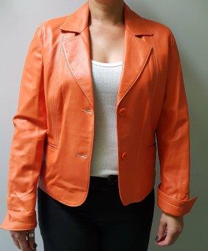 Blazer en cuir orange fluo cuir