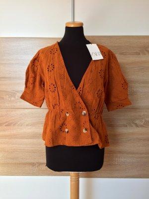 Orange Lochmuster Stickerei Bluse, Hemd von Zara, Gr. XL (NEU)