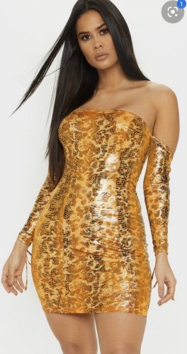 Orange Metallic Snake Kleid