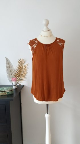 H&M Crochet Top dark orange mixture fibre