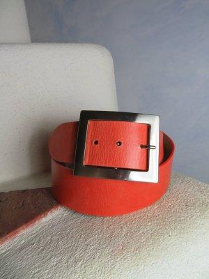 Orange Rot Vanzetti echt Ledergürtel - Silber Schnalle - Made in Germany - Gürtelgröße 80 - Gürtellänge 98 cm